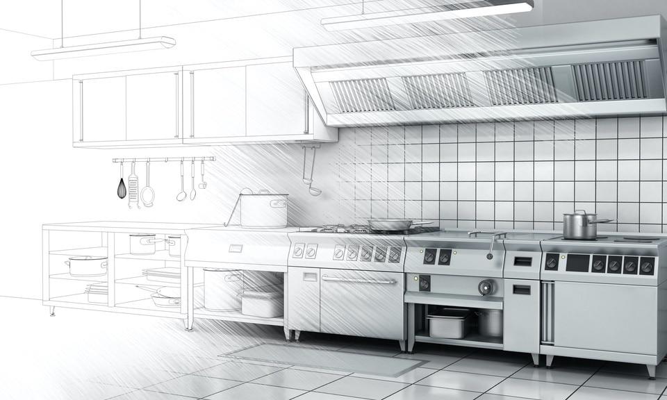 plan d'une cuisine professionnelle